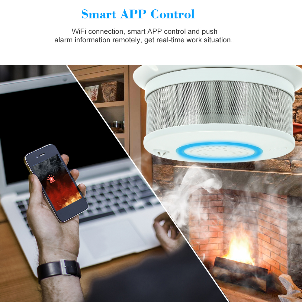 Smart WIFI Fire Smoke Temperature Sensor Wireless Smoke Temperature Detector Alarm APP Control Home Security Alarm System wireless zigbee smart anti fire alarm smoke sensor smart home sensors