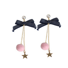 SANSUMMER 2019 Ribbon Bow Pink Pompon Star Long Women Jewelry Pearl Feautiful Romantic Young Girl Drop Earrings 5348 цена и фото