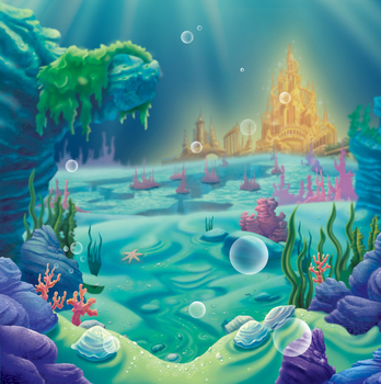 Little Mermaid Under Sea Bed Caslte Corals Ariel Princess Photography Backdrop Party Birthday photo background baby shower W-814