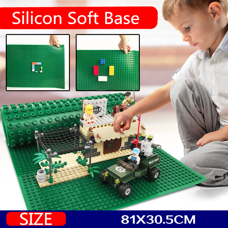 Soft Base Plate Dual Sides 81*30.5cm Compatible Small Large particles Baseplate High Quality Building Blocks Bricks Toys new big size 40 40cm blocks diy baseplate 50 50 dots diy small bricks building blocks base plate green grey blue