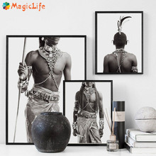 Sexy Aboriginal Men Decor Wall Art Canvas Painting Nordic Poster Pictures for Living Room Decorative Unframed