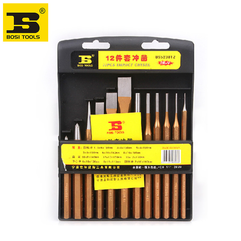 free shipping BOSI 12PCS punch set center pin cold chisels solid punches set