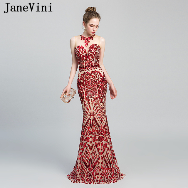 b40eb466fa7 JaneVini Bling-Bling Sequined Red Long Evening Dresses Sexy Mermaid Red  Carpet Dress Women Formal Party Gowns Abend Kleider 2019