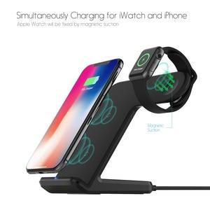 Image 2 - 2 In 1 şarj standı istasyonu için Apple izle 5 4 3 2 Airpods Qi kablosuz şarj standı telefon tutucu iPhone 11 XS Max XR X 8
