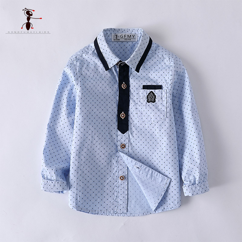 Kung Fu Ant School Uniforms Turn-down Collar Blue White Pockets Shirts Cotton Formal Boys Polka Dot Classic for Kids 2929 цены онлайн