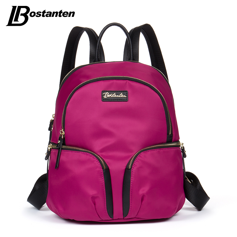 Bostanten Womens Backpack Nylon Fashion Zipper Pockets Shoulder Bag Small Backpack School Bags For Teenager Girl Bag mochila aequeen womens backpacks nylon backpack shoulder bags fashion ladies small ruck school for girls travelling shopping bag