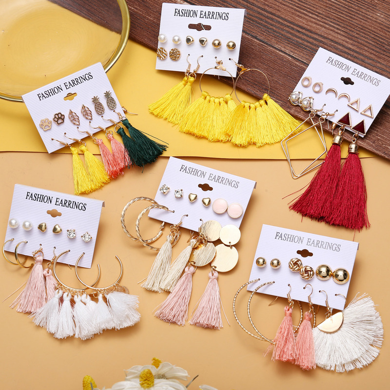 New Design Tassel Stud Earrings Set For Women Girl 2019 Bohemian Gold Flower Long Earring Female Fashion Wedding Jewelry image