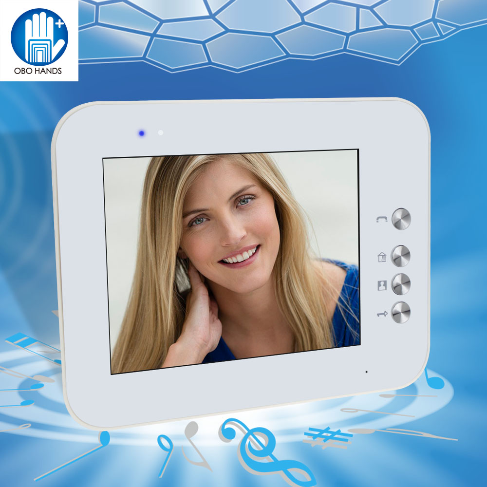 8'' TFT LCD Color Video Door Phone Intercom System Indoor White Monitor Screen Without IR COMS Outdoor Camera Doorbell For Home wired video door phone intercom doorbell system 7 tft lcd monitor screen with ir coms outdoor camera video door bell