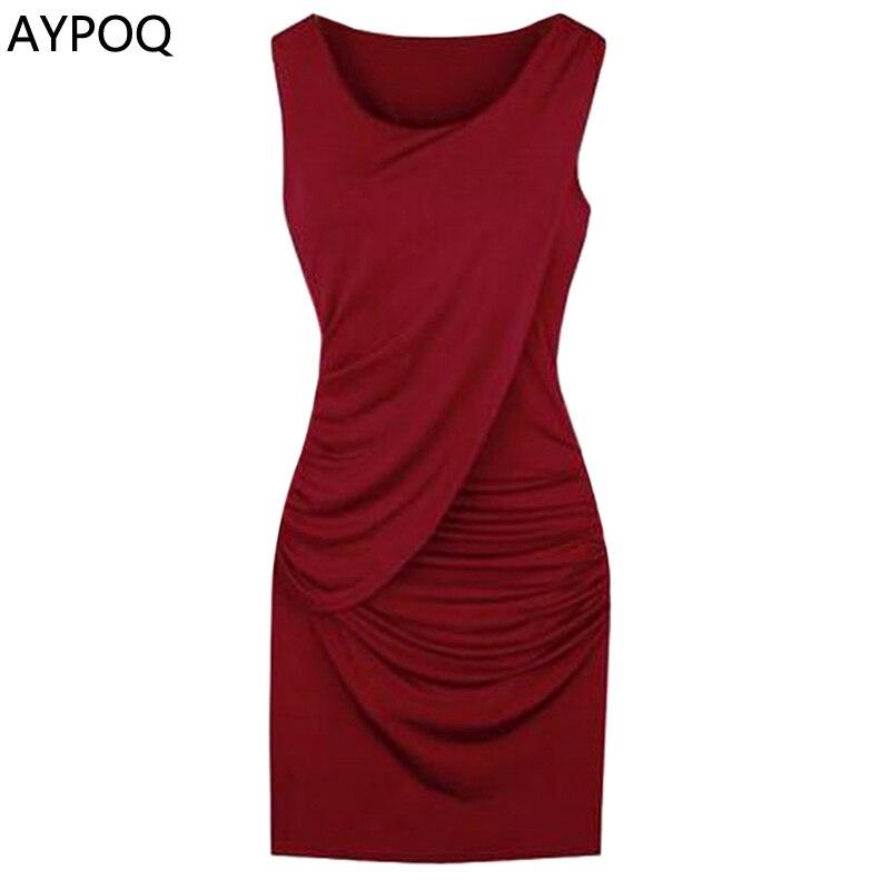 AYPOQ Plus Size 5XL Spring Summer Sleeveless Round Neck Short Dress Office Bodycon Sexy Female Club Evening Party Mini Dresses