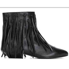 Fringe Chelsea Boots 2017 Winter and Fall Genuine Leather Pointed Toe Women Tassel Wedge Booties Square Heel Short Martin Ankle