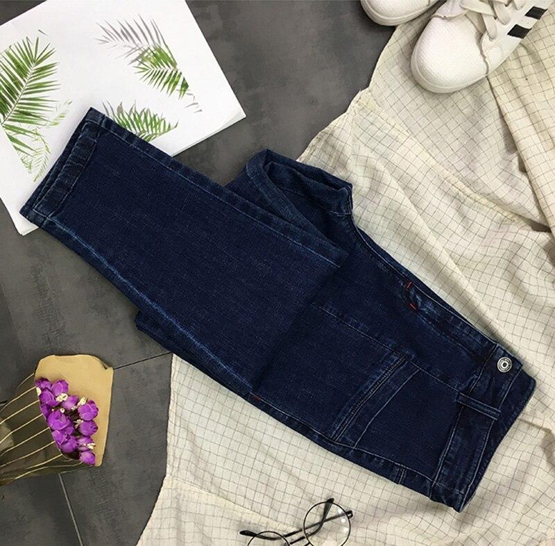 Vaqueros Diseño Simple Bolsillos Mujeres Plus Dark Delgado De Sólido Z942 Color Coreana Blue Moda Casuales Denim Tamaño Elástico Pantalones Cremallera xYrqr6dw