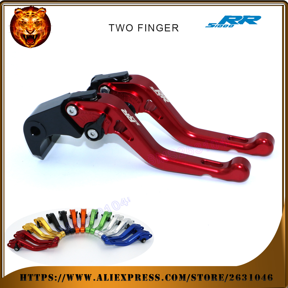 For BMW S1000RR  HP4 2010 2011 2012 2013 2014 black 2 finger red motobike Motorcycle Adjustable Short Brake Clutch Levers