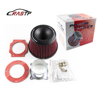 RASTP Universal Car Intake Air Filter 75mm Dual Funnel Adapter Air Cleaner Protect Your Piston With Logo RS OFI011