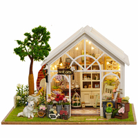 Home Decoration Accessories DIY Wood House Miniatura Craft With Furniture Home Decor Miniature Garden Stickers Ribbon