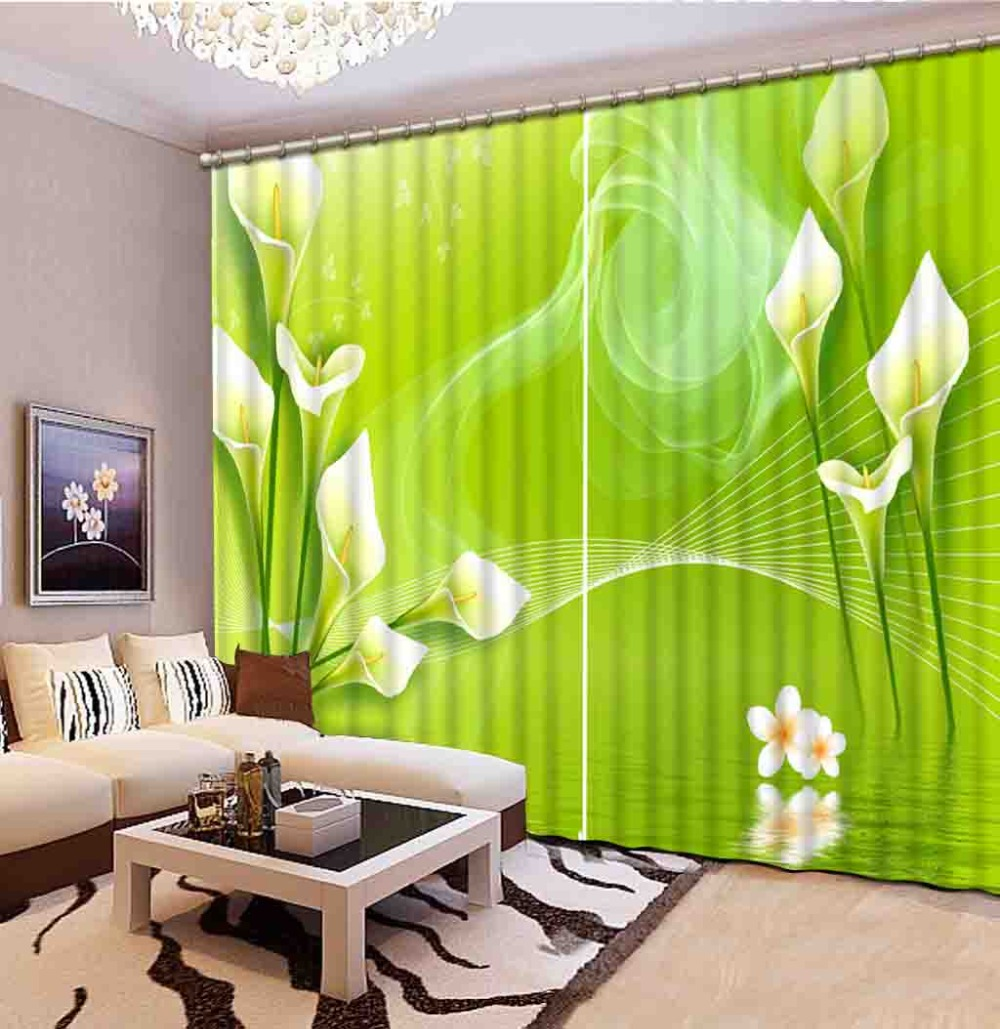 curtains for room green curtains Scenery Beauty Digital Photo Printing Blackout 3D Curtains for Living Room Bedding Room Hotel