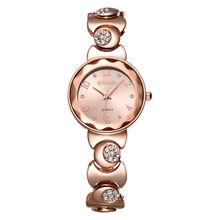 WEIQIN Relojes de Moda Mujeres Rhinestone de Oro Rosa de Cuarzo Reloj Superior de la Marca Vestido de Las Señoras Reloj de Pulsera Relojes Relogio feminino