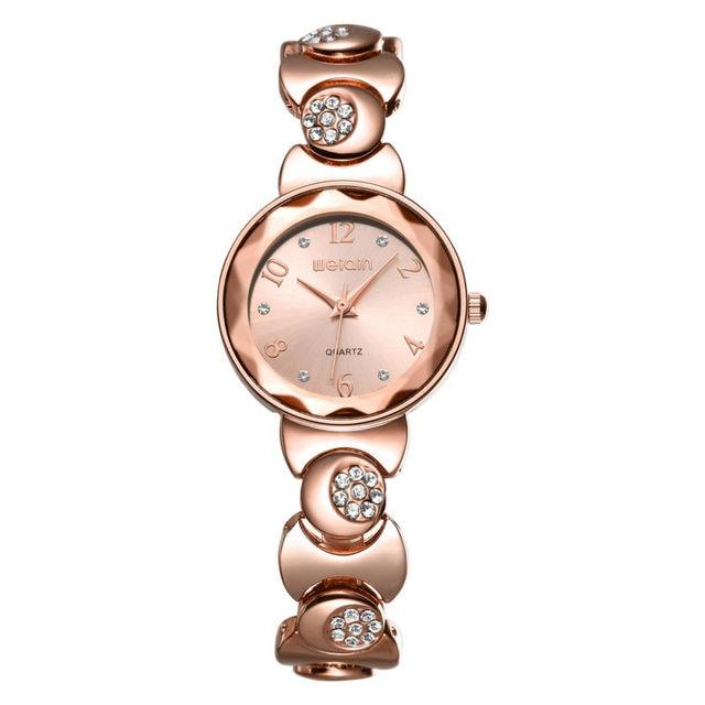 823867e3ea51 WEIQIN Relojes de Moda Mujeres Rhinestone de Oro Rosa de Cuarzo Reloj  Superior de la Marca