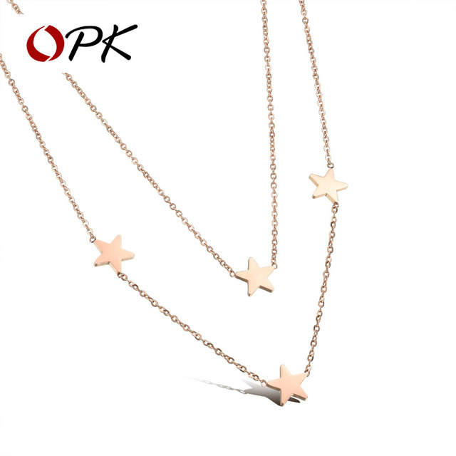 OPK Womans Double Layer Necklaces Fashion Rose Gold Color Stainless