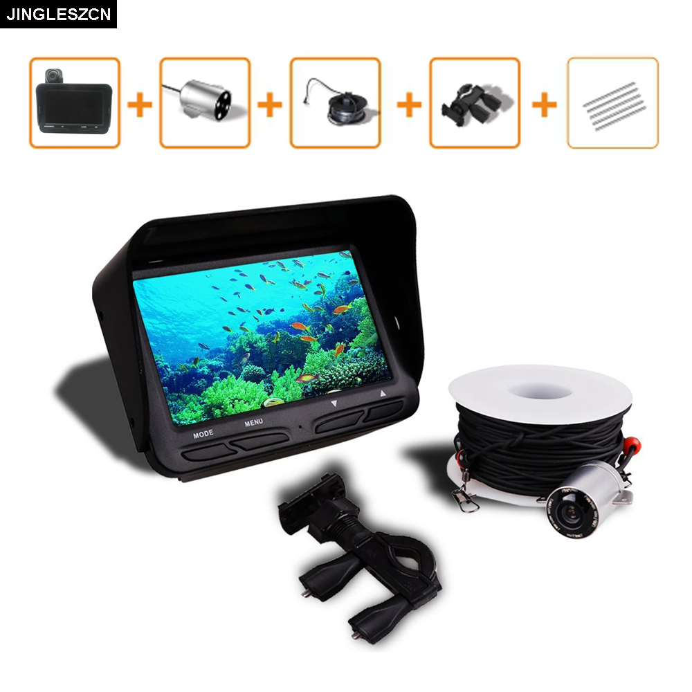 JINGLESZCN Underwater Fishing Camera DVR Video 6 LED Night Vision Fish Finder 4.3 HD TFT LCD Monitor Screen Fishing Fish Finder бинокль дальномер bushnell fusion 1 mile arc 12х50