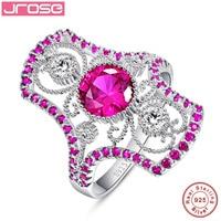 Jroseขายปลีกและขายส่งรอบตัดสีแดงคริสตัลสีขาวCZ 925แหวน