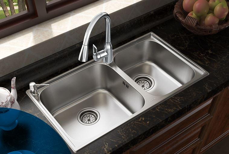 Kitchen Double Sink #38: Free Shipping Kitchen Sink Double Groove Set 304 Stainless Steel Sink Faucet High Vegetable Washing Basin