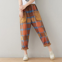 Women Spring Summer Plaid Scratched Vintage Loose Elastic Waist Pants Ladies Retro Washed Loose Casual Trousers Female Pants H80