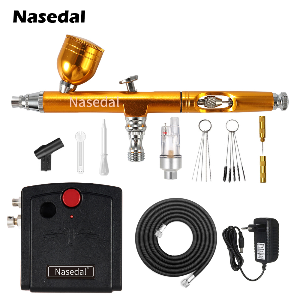 Nasedal Airbrush Compressor Kit Dual-Action 0.3mm Air Brush Paint Spary Gun Makeup Nail Tattoo Painting Car Cake Decor Airbrush