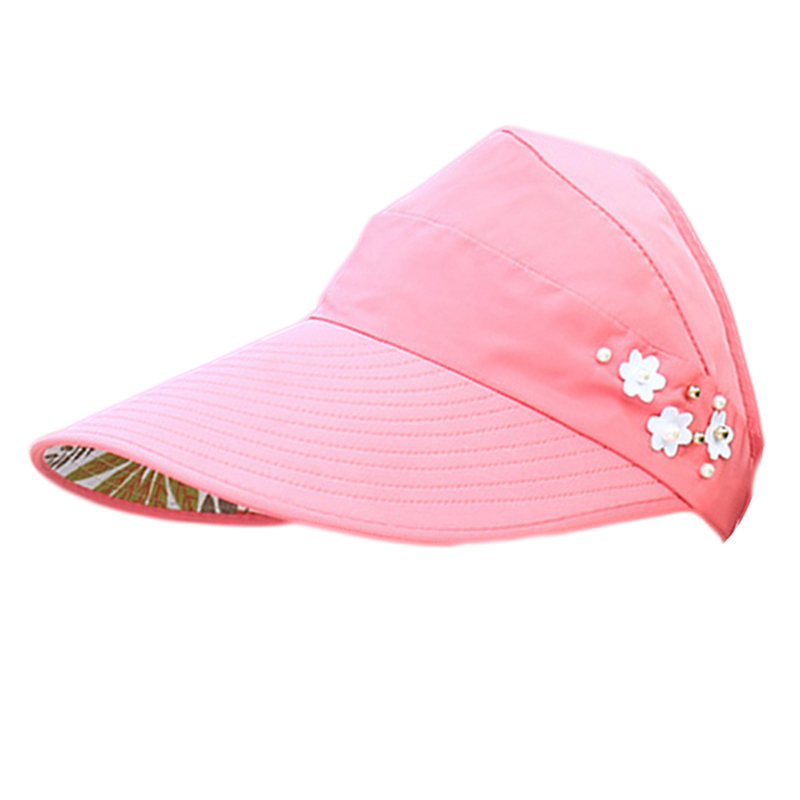 Summer Women's Sun Visor Colorful Adjustable Wide Brim Canvas UV Protection Outdoor Visors for Ladies