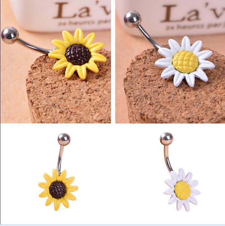 HTB1yEqTIVXXXXc8XXXXq6xXFXXXd Stainless Steel Sun Flower Belly Button Ring - 2 Colors