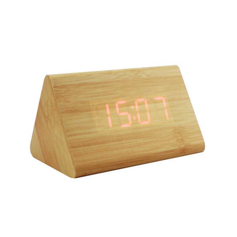 דקורטיבי שולחן שעוני בקרת חישה טמפ מעורר תצוגה כפולה אלקטרוני LED בציר עץ מעורר דיגיטלי שעון MAL999
