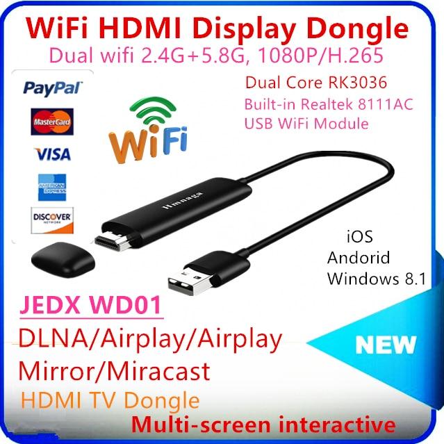 Jedx wd01 5 г Wi-Fi Дисплей Dongle 1080 P Беспроводной приемник AirPlay Miracast Экран зеркальное Media Player для iOS и Android оконные рамы