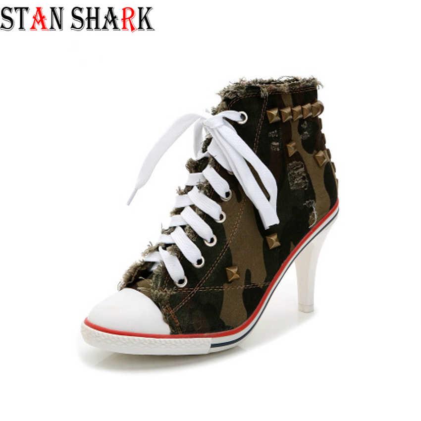 2019 Yeni Kadın kanvas ayakkabılar Denim Kumaş Yüksek Topuklu Perçinler Ayakkabı Moda Ayakkabı Bağcıkları Sneakers Leopar Kadın kısa çizmeler