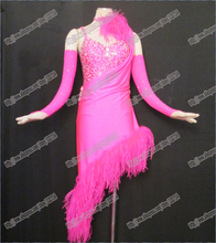 Top sales!! latin dance wear Dress DMC stone latin salsa tango competition dance dress Real feather with amazing rose red B-0076