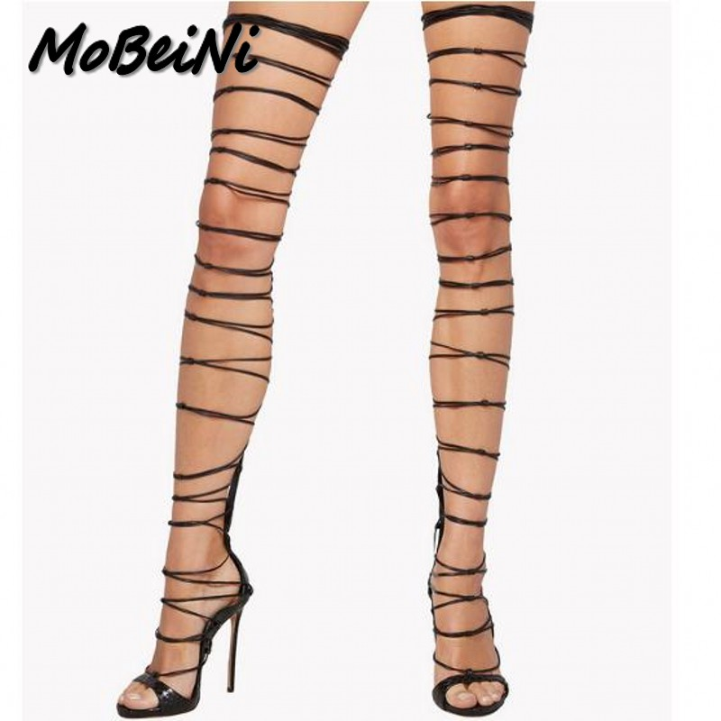 MoBeiNi summer Peep Toe Over the Knee high sandals boots gladiator Cross-tied women's high heels shoes woman pumps stilettos mobeini new fashion colored pompon straps with high heels sandals casual roman women s sandals summer woman gladiator sandals
