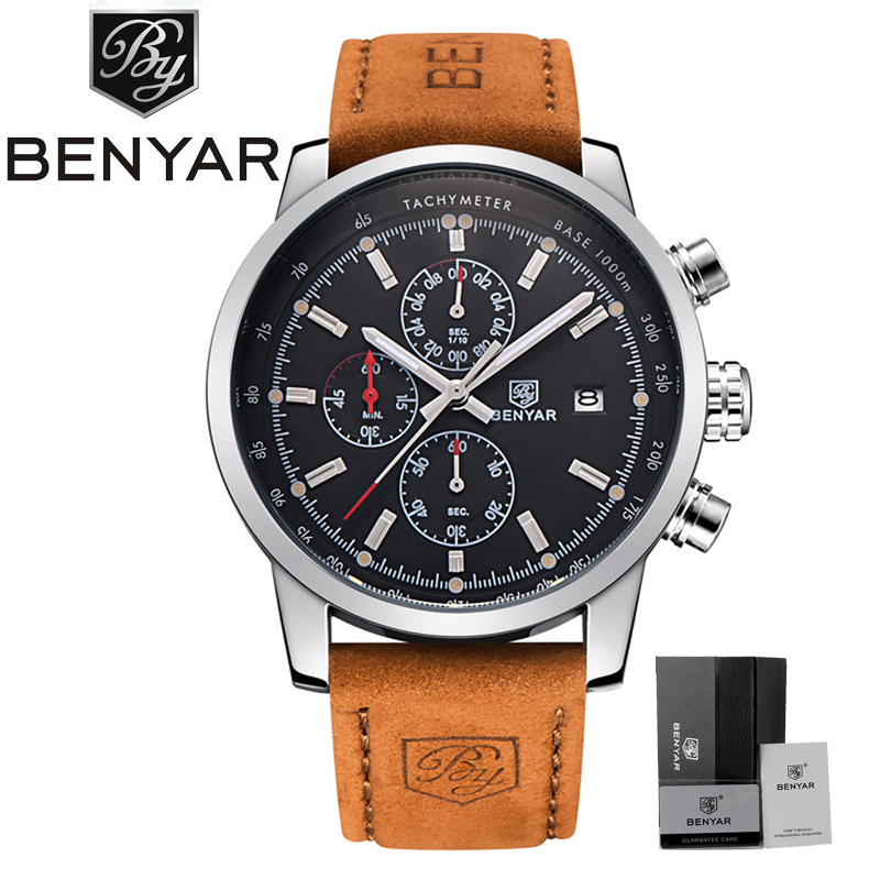BENYAR Fashion Chronograph Sport Mens Watches Top Brand Luxury Quartz Watch Leather Band 2017 Clock Male hour relogio Masculino mens watch top luxury brand fashion hollow clock male casual sport wristwatch men pirate skull style quartz watch reloj homber