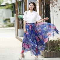 Vibrant Floral Printed Womens Chiffon Bohemian Gypsy Long Flowy Maxi Skirt High Waist causal Beach Holiday Hawaii skirts