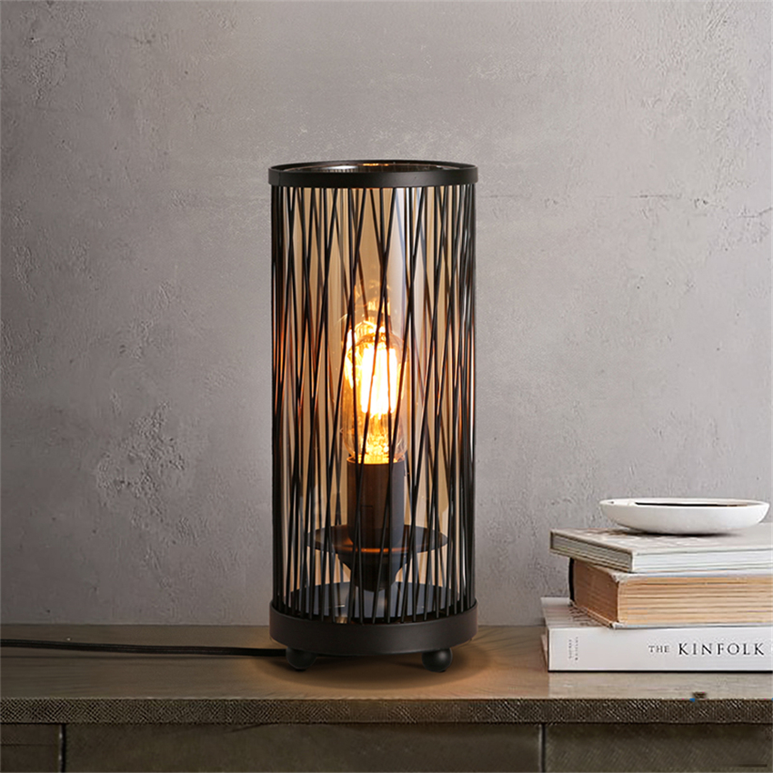 купить Retro Vintage Black LED Desk Lights Iron Mesh LED Table Lamps Bedroom Bedside Study Reading Table Lights Decor Kitchen Fixture по цене 6655.6 рублей