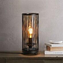 купить Retro Vintage Black LED Desk Lights Iron Mesh LED Table Lamps Bedroom Bedside Study Reading Table Lights Decor Kitchen Fixture по цене 6375.04 рублей