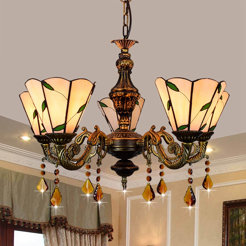 Europe and America Tiffany color glass hotel dining room living room bedroom Tea House Cafe Internet cafe 5 chandeliersEurope and America Tiffany color glass hotel dining room living room bedroom Tea House Cafe Internet cafe 5 chandeliers