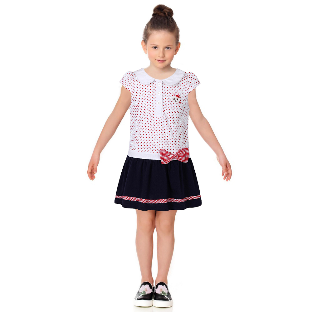 Подробнее о Girls Dress with Bow 2017 Brand Summer Kids Dresses for Girls Clothes Patchwork Children Costumes Princess Dress Robe Fille 2-8Y girls blouse dress 2017 brand summer robe princesse fille kids dresses for girls clothes 100% cotton floral children costumes