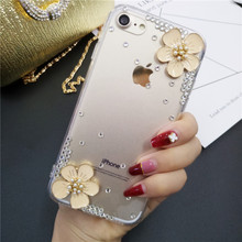 XINGDUO Transparent case cover for iphone X XS XR MAX Glitter 3D flower Jewelled diamond 5 5s 6 7 8 plus