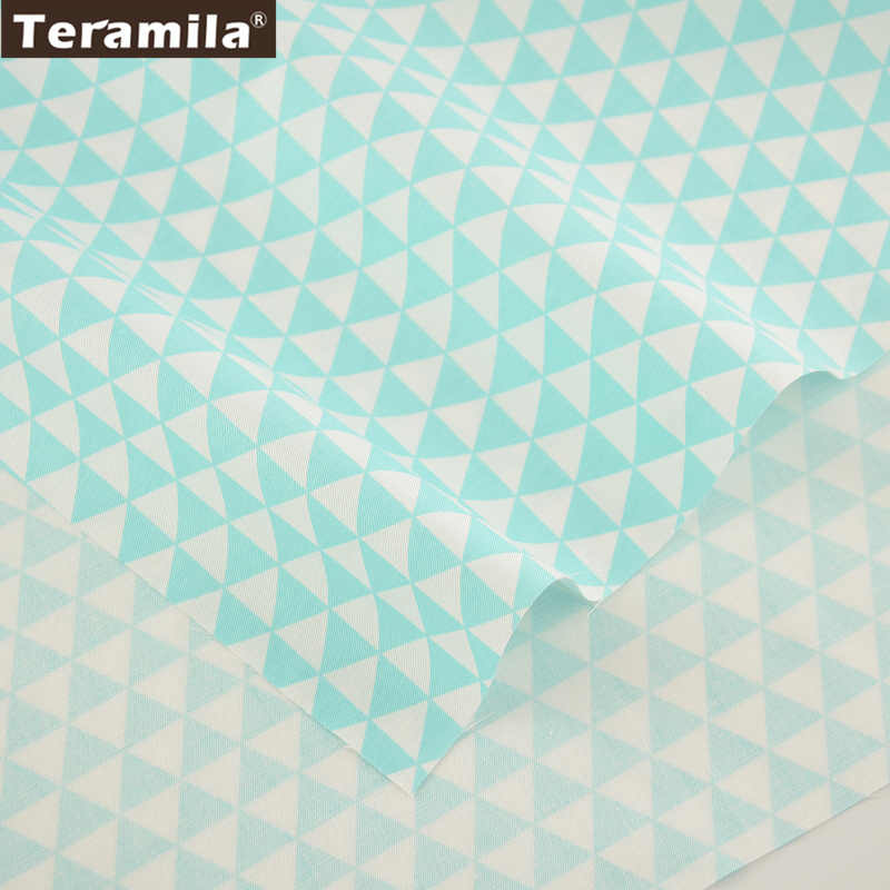 TERAMILA New Home Textile Cotton Twill Fabric Light Green Triangle Soft Quilting Cloth Tecido For Bed Sheet Baby Beding Dolls