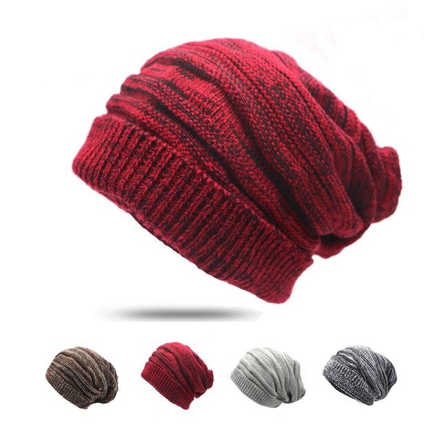 dd61562a6c7 4Pcs Casual Skullies Beanies Hats for Men Women Women s Knitted Hat Bonnet Fashion  Caps Unisex Warm Caps Gorros Ski Slouchy Hats