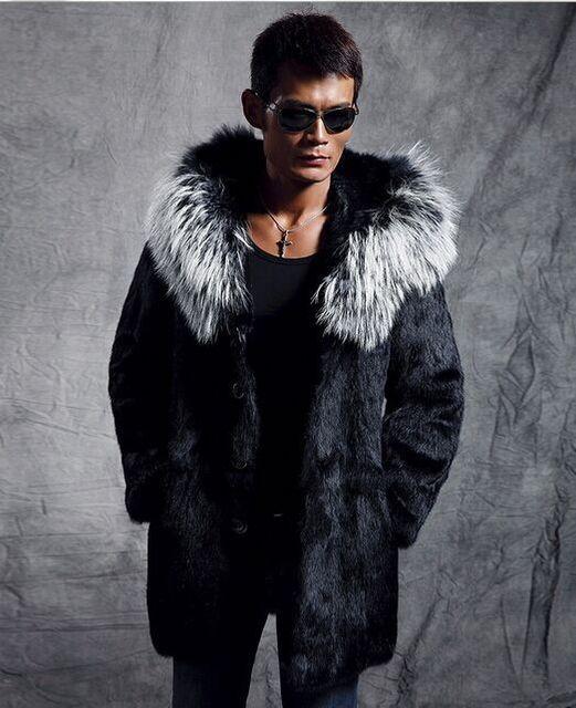 78c1c02e44 XXXL Plus Size Winter Men Coat 2017 Faux Mink Fur Outerwear Casual  Medium-long Black Hooded Fur Collar Warm Leather Jacket X674