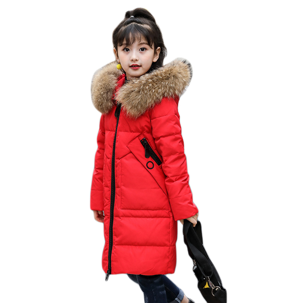 Girls Winter Jackets Long Kids Outerware Winter Coat Big Fur Hoodies 80% White Duck Down Jackets Girls 6 7 8 9 10 11 12 years xyf8831 girls kids autumn winter down jackets 80