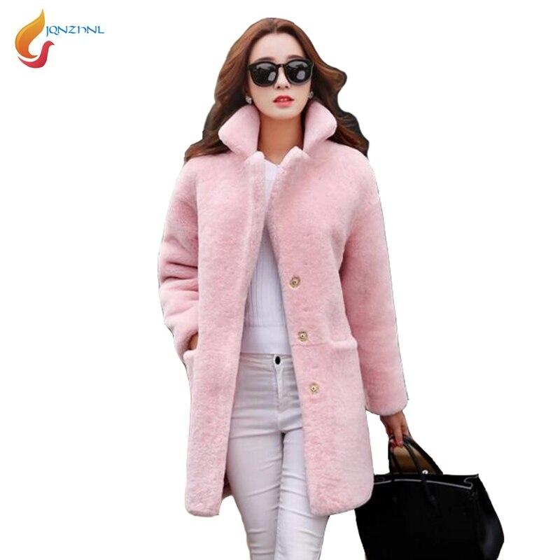 Red Moyen New Veste Femmes pink Lâche D'agneau 2019 Dames Hiver Chaud black De Manteaux Casual C129 Fourrure Long Jqnzhnl En Fausse Laine OxpwSzS