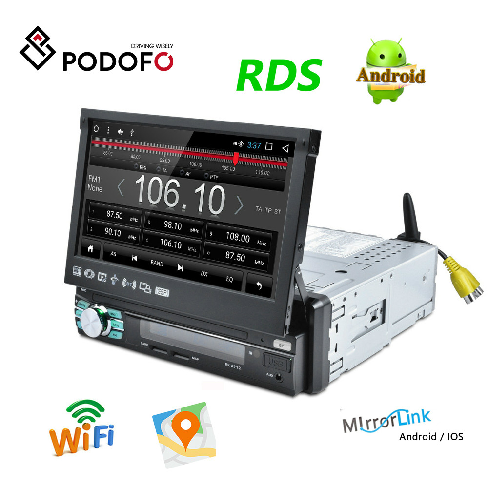 Podofo 1DIN 7 HD Android automatic Retractable Car Stereo RDS Audio Radio Bluetooth Car MP5 Player SD FM USB Rear View Camera image