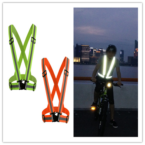 Geqing Novelty Glowing Reflective Luminous Unisex Men Suspenders Elasticity Stripe Fashion Night Sports Safety Protection
