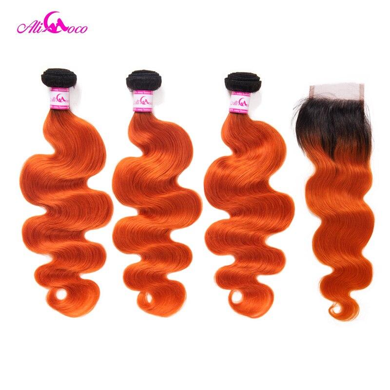 Али Коко Бразильский объемная волна с закрытием 1B/оранжевый Цвет 10 28 дюймов 100% натуральные волосы 3/4 Связки и дело Волосы remy расширение