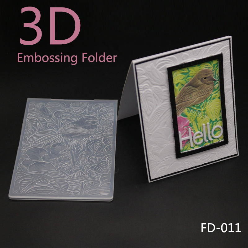 3D New Arrival Scrapbook Birds and Leaves Design DIY Paper Cutting Dies Scrapbooking Plastic Embossing Folder